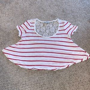 Guess White and Red Flowy Crop Top with Lace